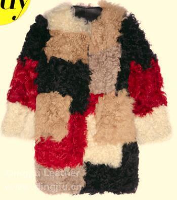 拼接拼色羊毛皮外套图片