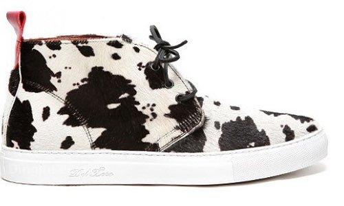 黑白颜色图案马毛皮-鞋