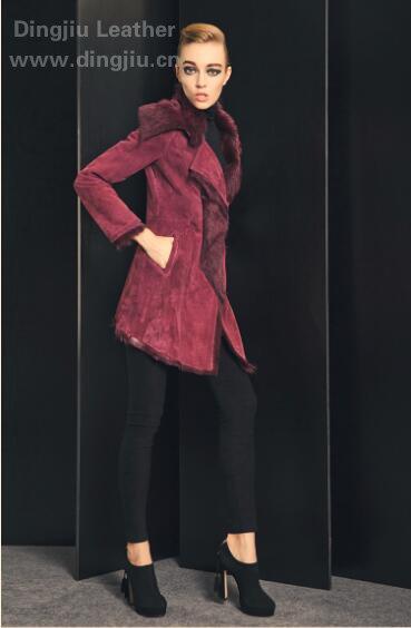 紫色 羊毛皮毛betvictor1946手机翻领女中长款欧美风外套 图片03